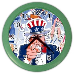 Independence Day United States Of America Color Wall Clocks