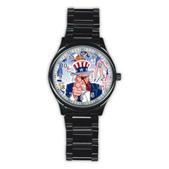 Independence Day United States Of America Stainless Steel Round Watch