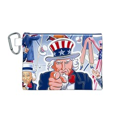 Independence Day United States Of America Canvas Cosmetic Bag (m)