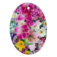Colorful Flowers Patterns Ornament (oval)