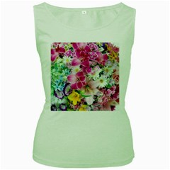 Colorful Flowers Patterns Women s Green Tank Top