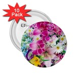 Colorful Flowers Patterns 2.25  Buttons (10 pack)  Front