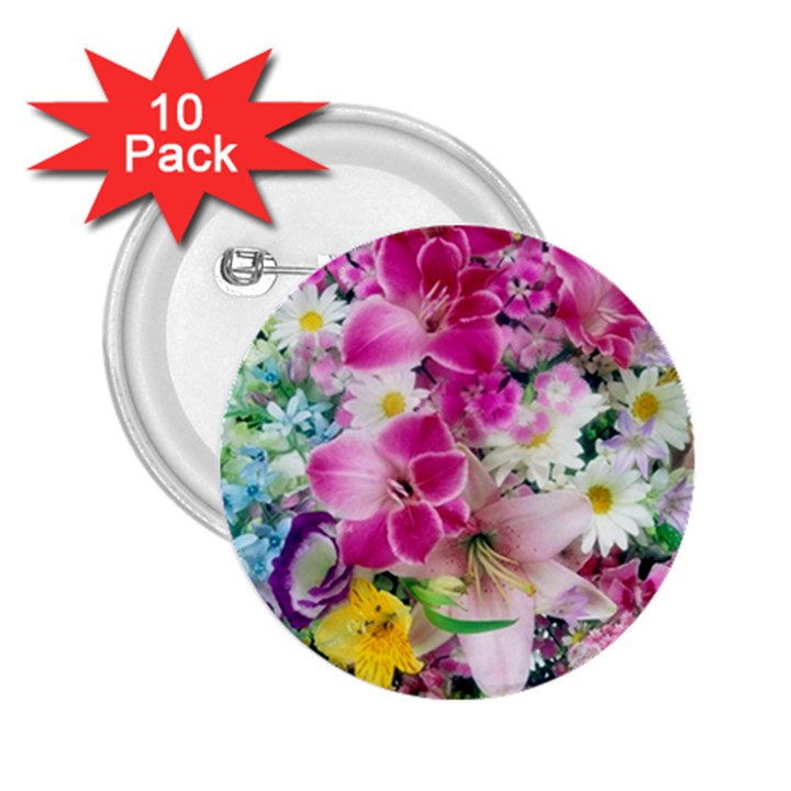 Colorful Flowers Patterns 2.25  Buttons (10 pack)
