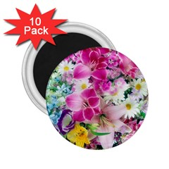 Colorful Flowers Patterns 2 25  Magnets (10 Pack)