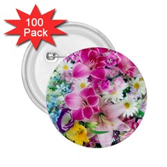 Colorful Flowers Patterns 2 25  Buttons (100 Pack)