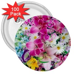 Colorful Flowers Patterns 3  Buttons (100 Pack)