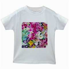 Colorful Flowers Patterns Kids White T Shirts