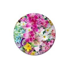 Colorful Flowers Patterns Magnet 3  (round)