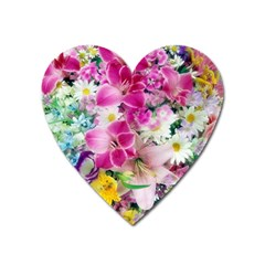 Colorful Flowers Patterns Heart Magnet