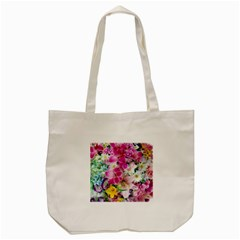 Colorful Flowers Patterns Tote Bag (cream)