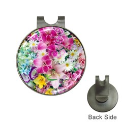 Colorful Flowers Patterns Hat Clips With Golf Markers