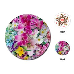 Colorful Flowers Patterns Playing Cards (round)