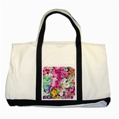 Colorful Flowers Patterns Two Tone Tote Bag