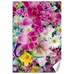 Colorful Flowers Patterns Canvas 12  X 18