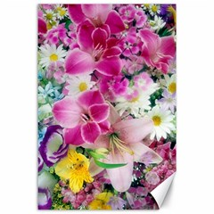 Colorful Flowers Patterns Canvas 24  X 36