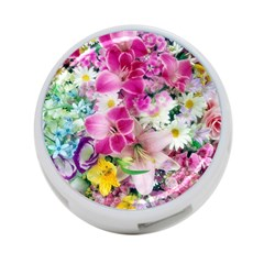 Colorful Flowers Patterns 4 Port Usb Hub (one Side)