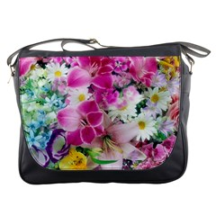 Colorful Flowers Patterns Messenger Bags