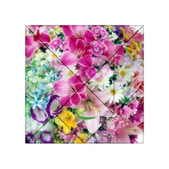 Colorful Flowers Patterns Acrylic Tangram Puzzle (4  X 4 )