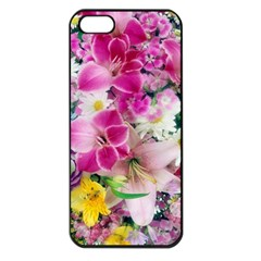 Colorful Flowers Patterns Apple Iphone 5 Seamless Case (black)