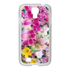 Colorful Flowers Patterns Samsung Galaxy S4 I9500/ I9505 Case (white)