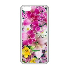 Colorful Flowers Patterns Apple Iphone 5c Seamless Case (white)