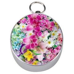 Colorful Flowers Patterns Silver Compasses
