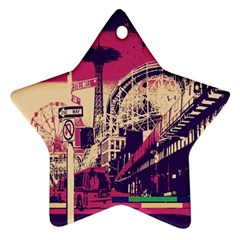 Pink City Retro Vintage Futurism Art Ornament (star)