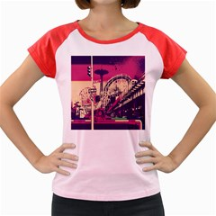 Pink City Retro Vintage Futurism Art Women s Cap Sleeve T Shirt