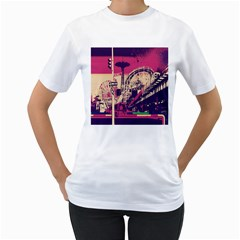 Pink City Retro Vintage Futurism Art Women s T Shirt (white) (two Sided)