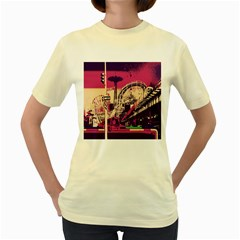 Pink City Retro Vintage Futurism Art Women s Yellow T Shirt