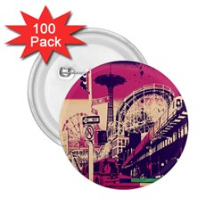 Pink City Retro Vintage Futurism Art 2 25  Buttons (100 Pack)