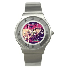 Pink City Retro Vintage Futurism Art Stainless Steel Watch