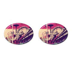 Pink City Retro Vintage Futurism Art Cufflinks (oval)