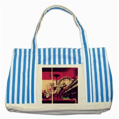 Pink City Retro Vintage Futurism Art Striped Blue Tote Bag