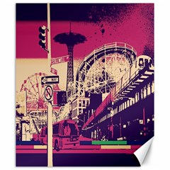 Pink City Retro Vintage Futurism Art Canvas 20  X 24