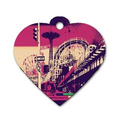 Pink City Retro Vintage Futurism Art Dog Tag Heart (one Side)