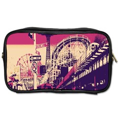 Pink City Retro Vintage Futurism Art Toiletries Bags 2 Side