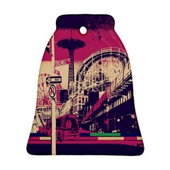 Pink City Retro Vintage Futurism Art Bell Ornament (two Sides)
