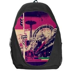 Pink City Retro Vintage Futurism Art Backpack Bag
