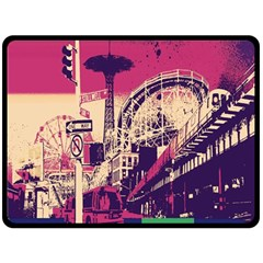Pink City Retro Vintage Futurism Art Double Sided Fleece Blanket (large)