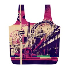 Pink City Retro Vintage Futurism Art Full Print Recycle Bags (l)