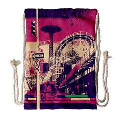 Pink City Retro Vintage Futurism Art Drawstring Bag (large)