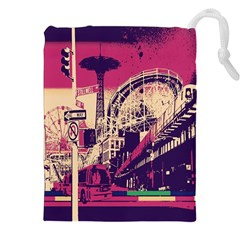 Pink City Retro Vintage Futurism Art Drawstring Pouches (xxl)