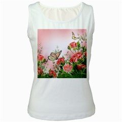 Flora Butterfly Roses Women s White Tank Top