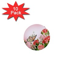 Flora Butterfly Roses 1  Mini Buttons (10 Pack)
