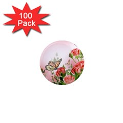 Flora Butterfly Roses 1  Mini Magnets (100 Pack)