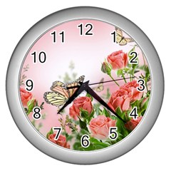 Flora Butterfly Roses Wall Clocks (silver)