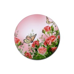 Flora Butterfly Roses Rubber Round Coaster (4 Pack)