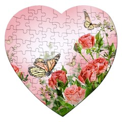 Flora Butterfly Roses Jigsaw Puzzle (heart)