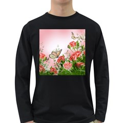Flora Butterfly Roses Long Sleeve Dark T Shirts